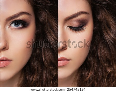 close-up, open and closed eyes, good makeup - stock photo