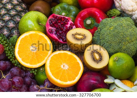 Close-up orange juice with group Fruits and vegetables for healthy - stock photo