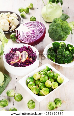 Close up Organic Fresh Foods from the Farm on Top of Wooden Table - stock photo