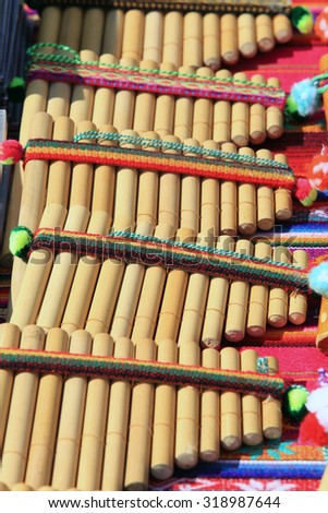 close-up Pan flute made of natural materials handmade in sunlight