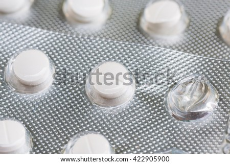 Close up Panel of pills