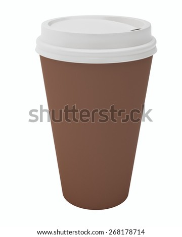 Close Up Paper Coffee Cup. Isolated on white background.
