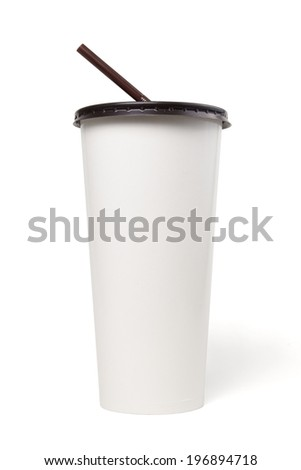 Close up paper cup with brown caver and straw isolated on white, Include clipping path. - stock photo