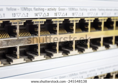 Close-up partially view of LAN network switch - stock photo