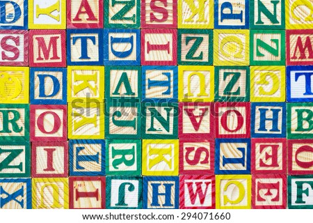 Close up pattern of colorful alphabet blocks, Texture and background - stock photo