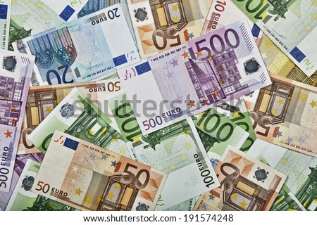 Close-up pattern of Euro paper currency