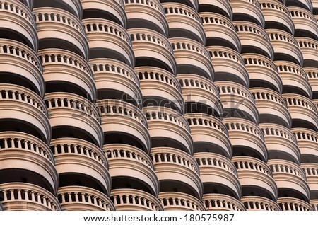 Close up pattern photo of balconies of the state tower, built in 2001, Bangkok, Thailand