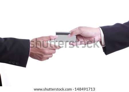 Close up Payment machine on during using Credit card from customer with white background