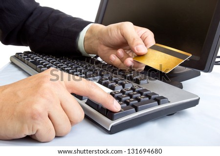 Close up Payment on during using Credit card from customer in shopping mall - stock photo
