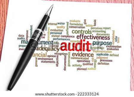 Close Up Pen And Audit Word Cloud  - stock photo