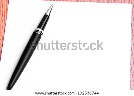 Close Up Pen And Blank Paper For Writing Notes - stock photo