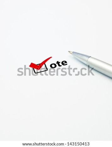 close up pen on vote check list