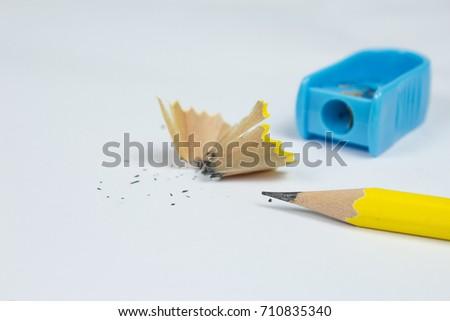 close pencil sharpened pencil sharpener on stock photo royalty free