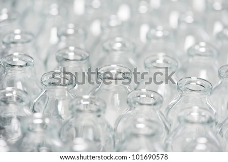 close-up pharmacy contaner glassware background for pharmaceutical medicine powder drugs - stock photo
