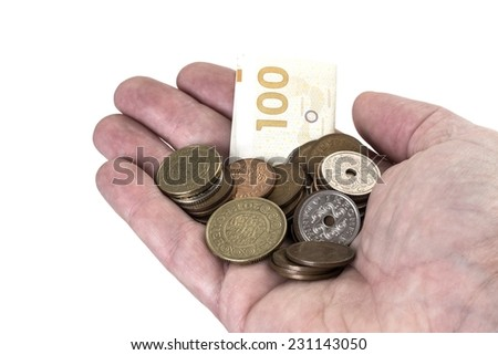 Close up photo of a hand holding danish coins and a banknote on white background - stock photo