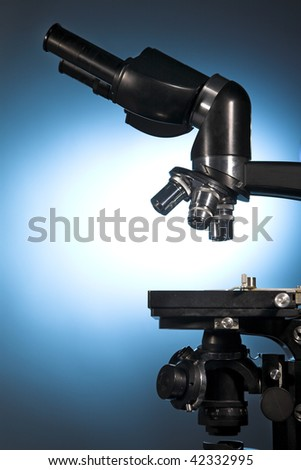 close up photo of a microscope - stock photo