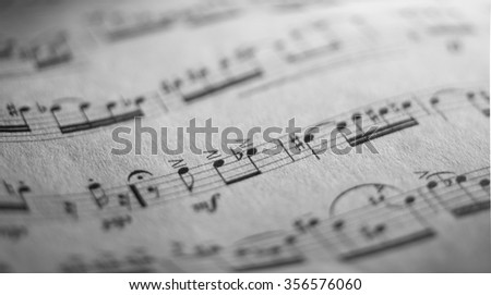 close up photo of a music sheet of classic repertoire - stock photo