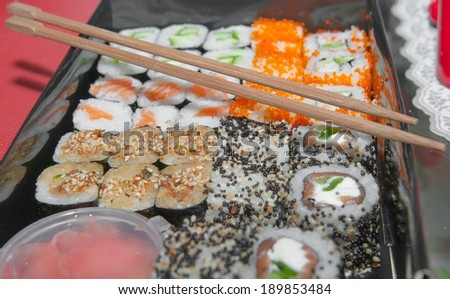 Close up photo of a plate with sushi. - stock photo