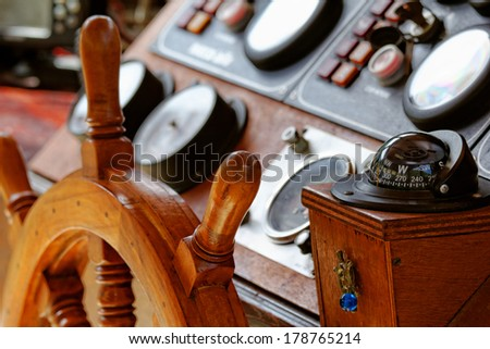 Close up photo of a ship's old steering - stock photo