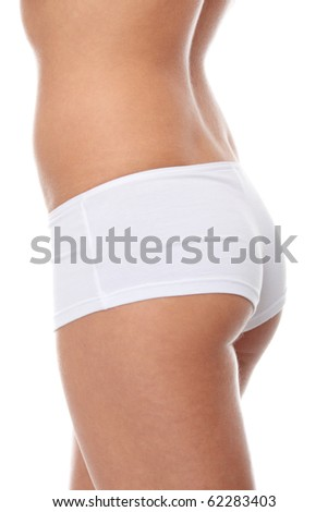 Close up photo of a side view of the female body isolated on white