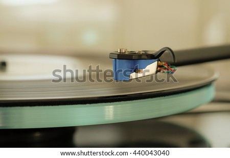 Close up photo of a stylus on a vinyl LP record - stock photo