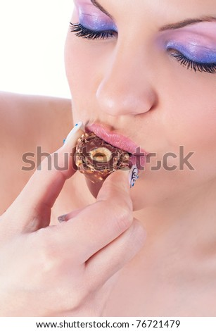 Close up photo of a women with chocolate - stock photo