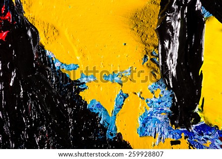 Close-up photo of an original abstract oil painting on canvas