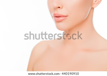 Close up photo of beautiful woman's lips and perfect skin