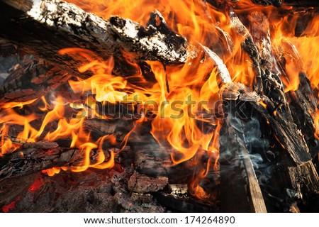 Close up photo of big outdoor bonfire - stock photo