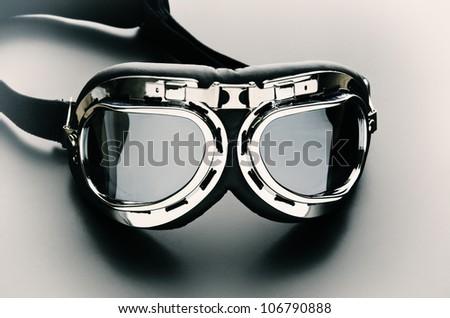 Close up photo of bike goggles - stock photo