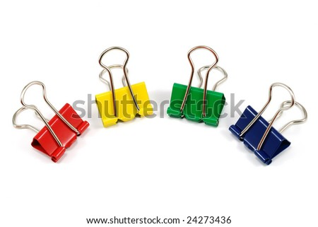 close-up photo of binder-clips - stock photo