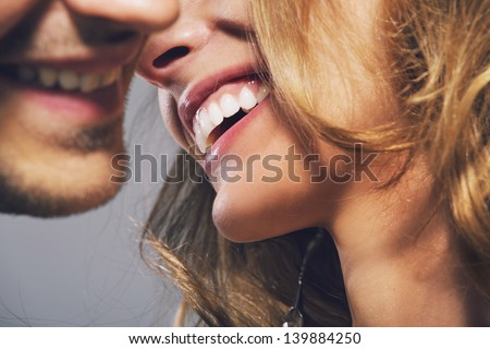 Close up photo of cheerful young people - stock photo