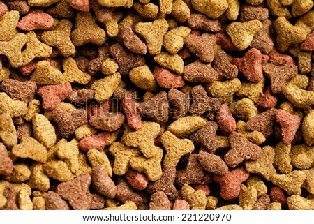 Close up photo of colorful pet food