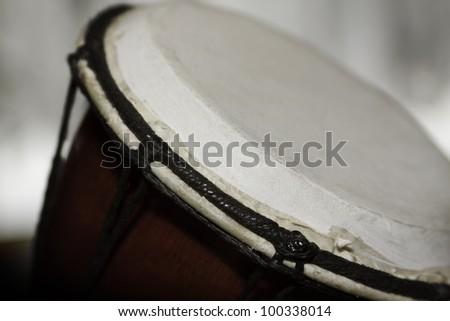 close - up photo of djembe - stock photo