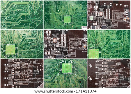 Close-up photo of electronic circuit board with integrated microchips - stock photo