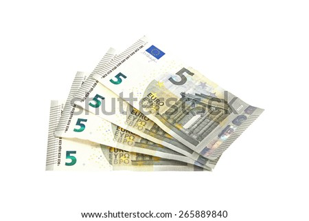 Close up photo of Euro notes on a plain white background.