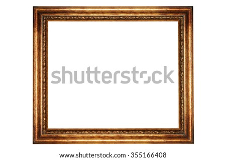 Close-up photo of golden frame isolated over white background. Clipping path included.