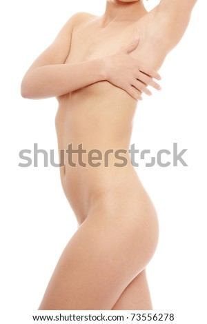 Close up photo of nude body of young fit female, isolated on white - stock photo