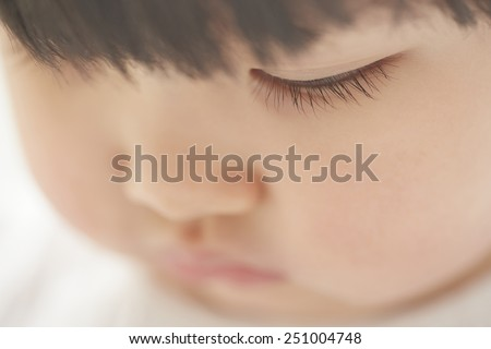 Close-up photo of pensive child looking down - stock photo