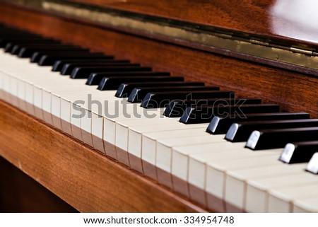 close-up photo  of piano keys - stock photo
