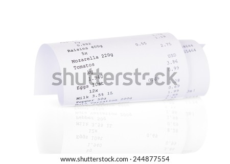 Close-up Photo Of Receipt Over White Background - stock photo