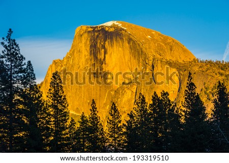 Close Up Photo Of The Half Dome In Sunset Light, Yosemite National Park, California - stock photo