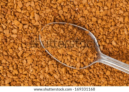 close up photo of the instant coffee with a teaspoon - stock photo