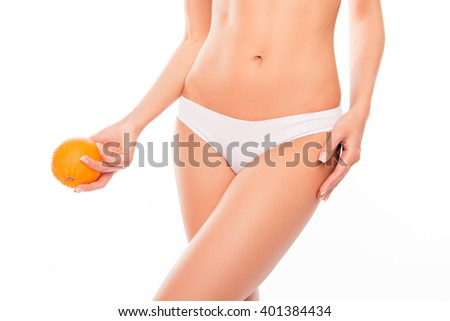 Close up photo of white woman's panties and orange near  hip