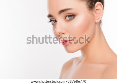 Close up photo of  young beautiful woman on white background - stock photo