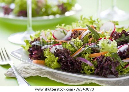 Close up photograph of a tasty mixed salad - stock photo