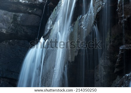 Close up photography of small waterfall  - stock photo
