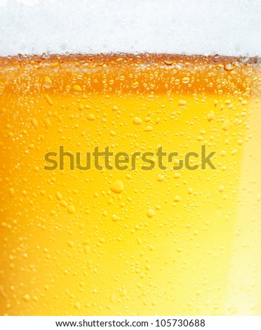 Close-up picture of a beer with the foam in the top and bubbles. - stock photo