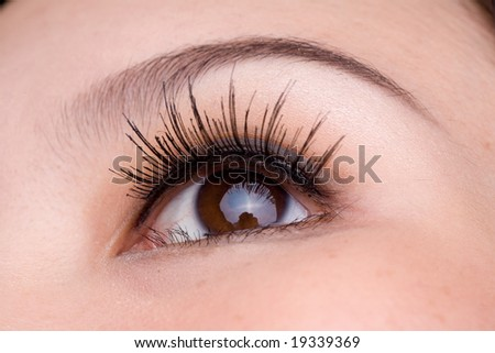 close up picture of a brown eyed woman - stock photo