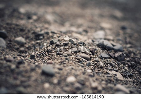 Close up picture of a sand and jack-stone on a seashore beach - stock photo